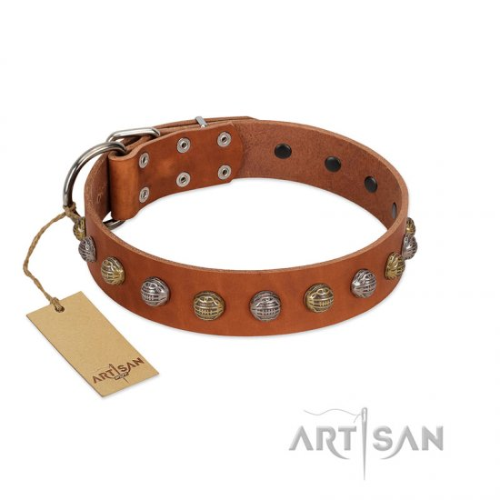 """Dogue-Vogue"" FDT Artisan Tan Leather English Bulldog Collar with Engraved Chrome-plated Studs"