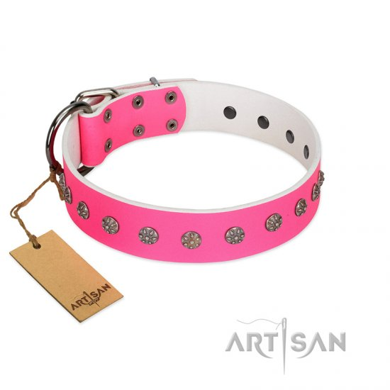 """Pink Blooming"" FDT Artisan Pink Leather English Bulldog Collar with Silver-Like Flowers"