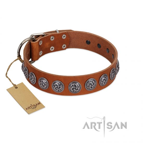 """Velvet Kiss"" Handmade FDT Artisan Tan Leather English Bulldog Collar with Vintage Medallions"