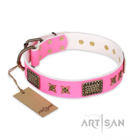 """Tender Pink"" FDT Artisan Leather English Bulldog Collar with Old Bronze Look Stars and Plates"