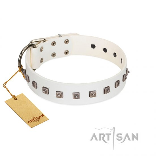 """True Grace"" Premium Quality FDT Artisan White Designer Leather English Bulldog Collar"
