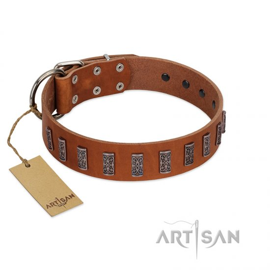 """Silver Century"" Fashionable FDT Artisan Tan Leather English Bulldog Collar with Silver-Like Plates"