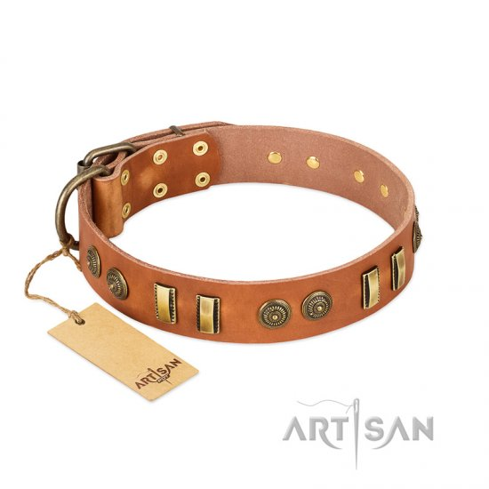 """Natural Beauty"" FDT Artisan Tan Leather English Bulldog Collar with Old Bronze-like Circles and Plates"