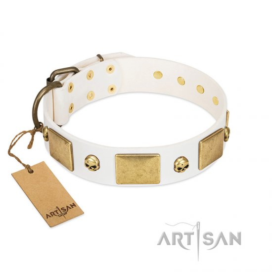 """Inspiration"" FDT Artisan White Leather English Bulldog Collar with Antiqued Skulls and Plates"