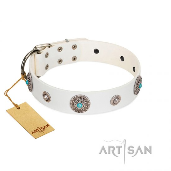 """Lush Life"" Designer Handcrafted FDT Artisan White Leather English Bulldog Collar with Blue Stones"