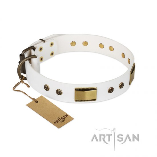 """Precious Necklace"" FDT Artisan White Leather English Bulldog Collar with Old Bronze Look Plates and Studs"