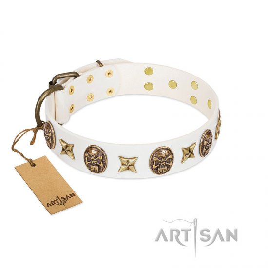 """Fads and Fancies"" FDT Artisan White Leather English Bulldog Collar with Stars and Skulls"