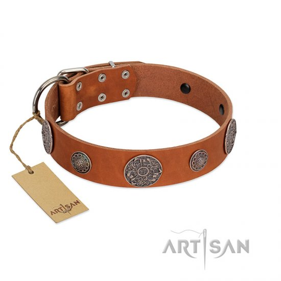 """Foxy Nature"" FDT Artisan Tan Leather English Bulldog Collar with Chrome Plated Brooches"