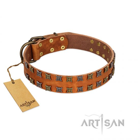 """Terra-cotta"" FDT Artisan Tan Leather English Bulldog Collar with Two Rows of Studs"