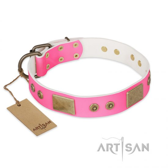 """Pink World"" FDT Artisan Pink Leather English Bulldog Collar with Old Bronze Look Plates and Studs"