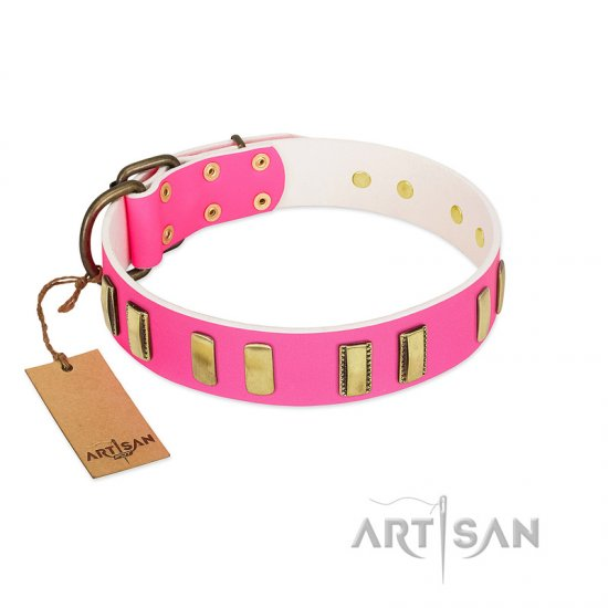 """Rubicund Frill"" FDT Artisan Pink Leather English Bulldog Collar with Engraved and Smooth Plates"