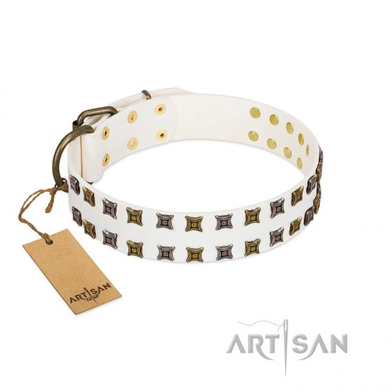 """Ice Peak"" FDT Artisan White Leather English Bulldog Collar with Silvery and Goldish Decorations"
