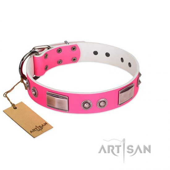 """Lady's Whim"" FDT Artisan Pink Leather English Bulldog Collar with Plates and Spiked Studs"