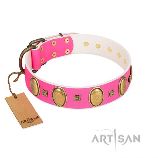 """Pawfect Lady"" Designer Handmade FDT Artisan Pink Leather English Bulldog Collar with Ovals and Studs"