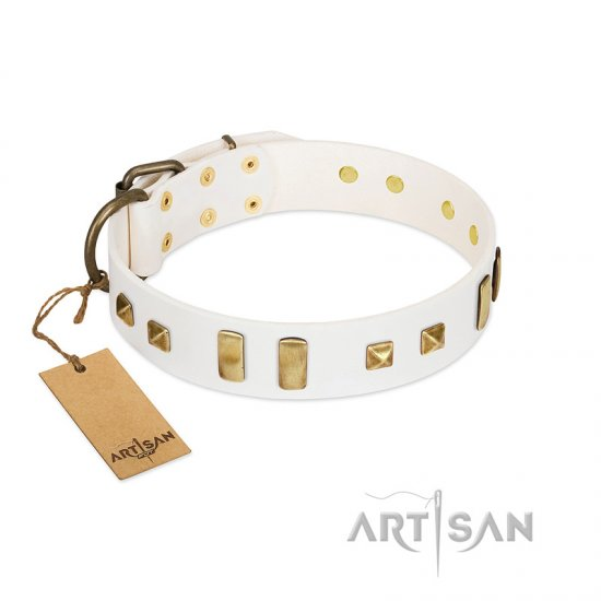 """Wintertide Mood"" FDT Artisan White Leather English Bulldog Collar with Old Bronze-like Plates and Studs"