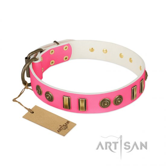 """Pink Amulet"" FDT Artisan Leather English Bulldog Collar with Old Bronze-like Plates and Circles"