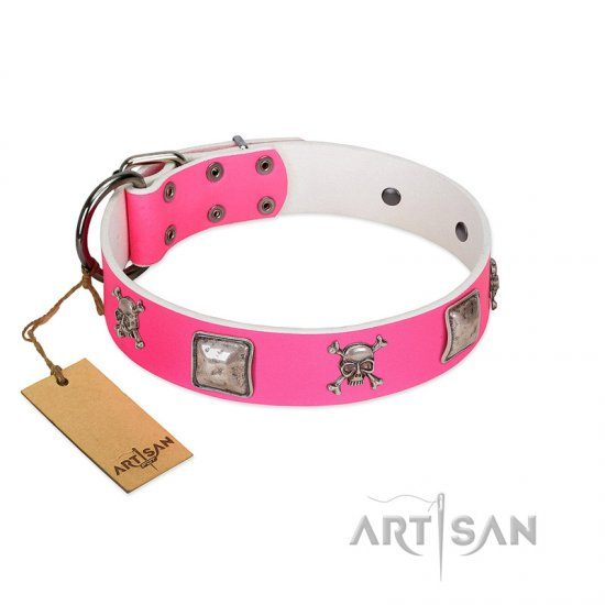 """Rosy Charisma"" Designer Handmade FDT Artisan Pink Leather English Bulldog Collar"