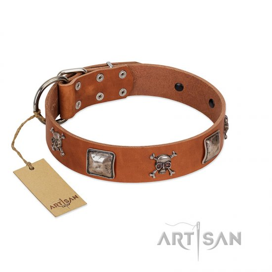 """Amorous Escapade"" Embellished FDT Artisan Tan Leather English Bulldog Collar with Chrome Plated Crossbones and Plates"