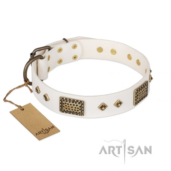 """Snow-covered Gold"" FDT Artisan White Leather English Bulldog Collar"