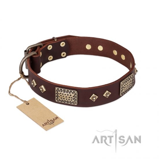 """Loving Owner"" FDT Artisan Decorated Leather English Bulldog Collar with Plates and Studs"