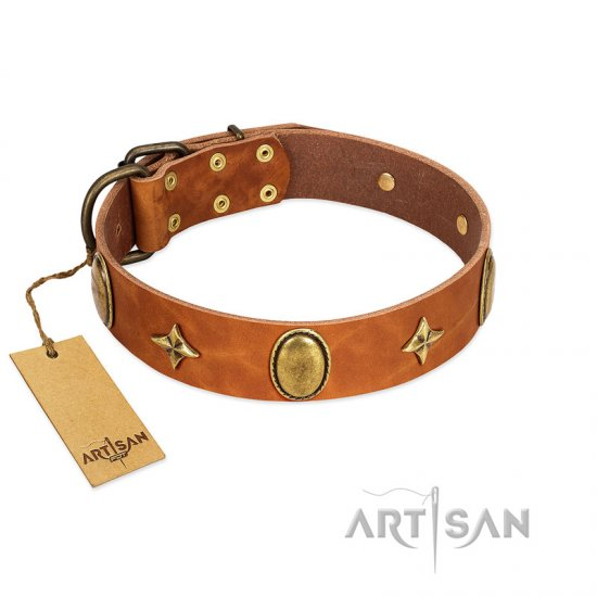 """Space Warrior"" FDT Artisan Tan Leather English Bulldog Collar with Ovals and Stars"