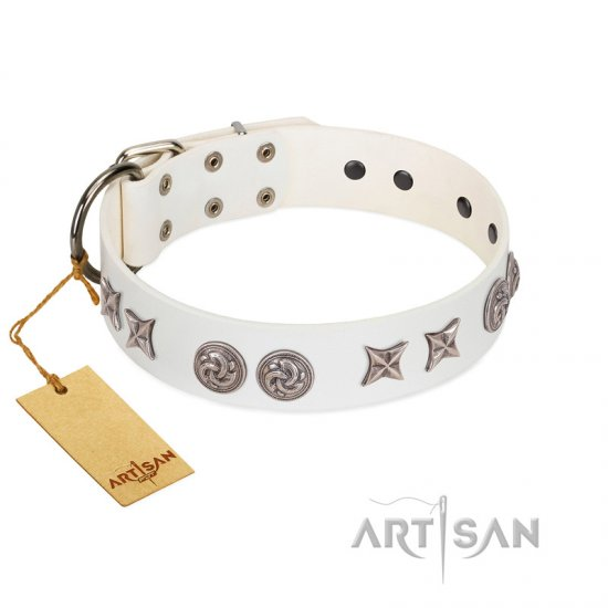 """Galaxy Hunter"" FDT Artisan White Leather English Bulldog Collar with Engraved Brooches and Stars"