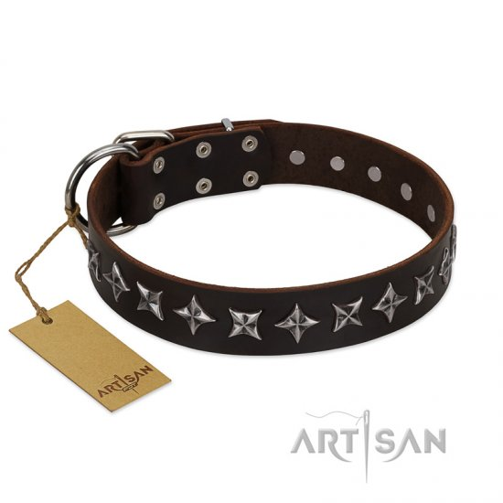 """Stars of Glory"" FDT Artisan Brown Leather English Bulldog Collar for Comfortable Walking"