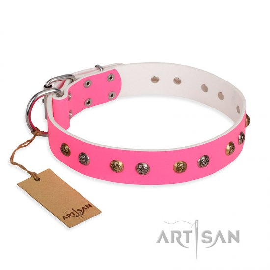 """Sheer love"" Pink Leather FDT Artisan English Bulldog Collar with Old-look Hemisphere Studs"