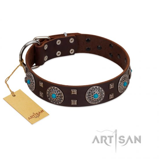 """Hypnotic Stones"" FDT Artisan Brown Leather English Bulldog Collar with Chrome Plated Brooches and Square Studs"