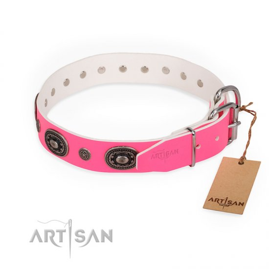"""Flavor of Strawberry"" FDT Artisan Flashy Pink Leather English Bulldog Collar"