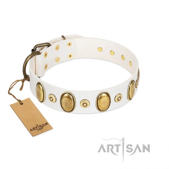 """Pearly Grace"" FDT Artisan White Leather English Bulldog Collar with Engraved Ovals and Small Dotted Studs"