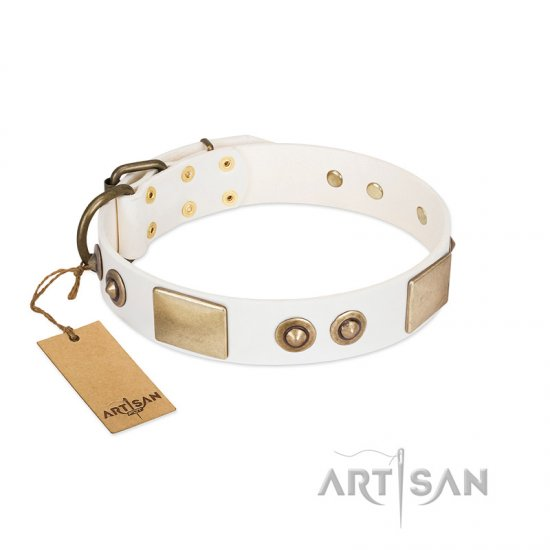 """Noble Impulse"" FDT Artisan White Leather English Bulldog Collar Adorned with Antique Plates and Studs"