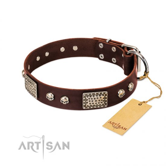 """Pirate Skull"" FDT Artisan Brown Leather English Bulldog Collar with Old Silver Look Plates and Skulls"