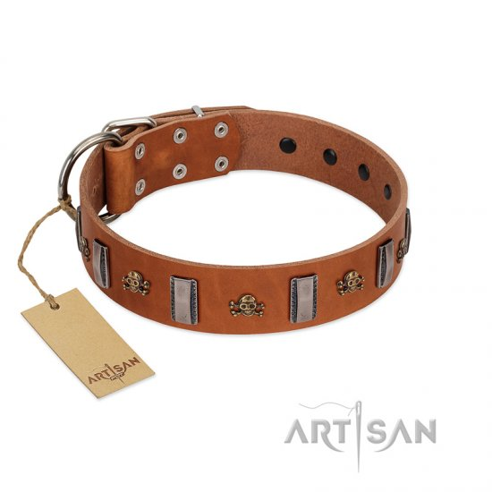 """Golden Crossbones"" Handmade FDT Artisan Tan Leather English Bulldog Collar with Plates and Skulls"