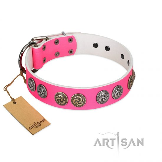 """Pink Butterfly"" Designer FDT Artisan Pink Leather English Bulldog Collar with Round Studs"