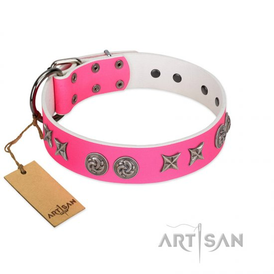"""Winsome Lassie"" Designer Handmade FDT Artisan Pink Leather English Bulldog Collar"