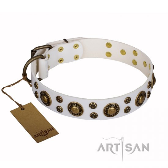'White Gentle Feather' FDT Artisan English Bulldog Genuine Leather Collar with Old-bronze Plated Decorations