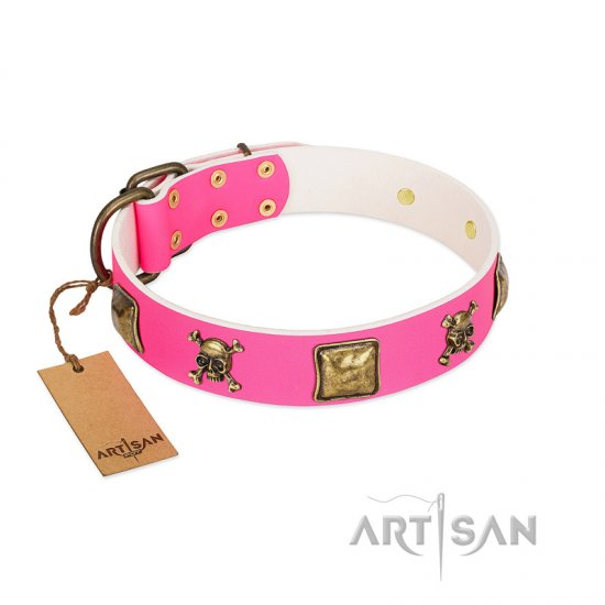 """Wild and Free"" FDT Artisan Pink Leather English Bulldog Collar with Skulls and Crossbones Combined with Squares"