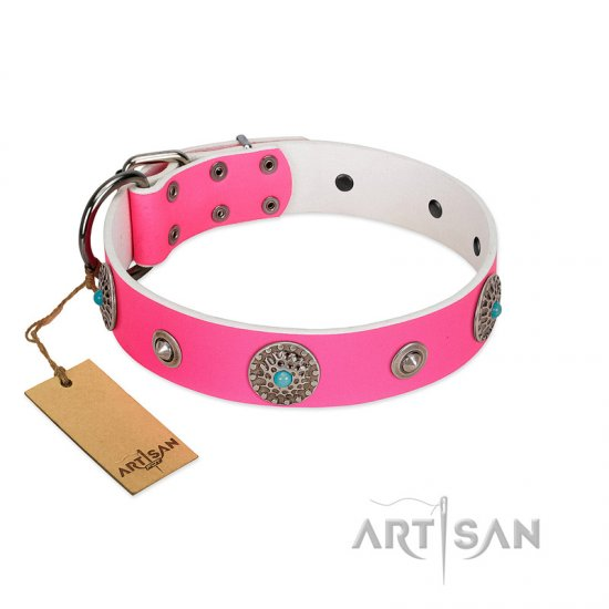 """Chili Mood"" Designer Handmade FDT Artisan Pink Leather English Bulldog Collar"