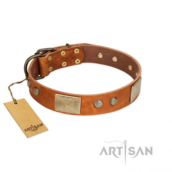 """Ancient Treasures"" FDT Artisan Tan Leather English Bulldog Collar with Antiqued Plates and Studs"