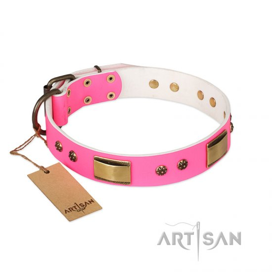 """Pink Daydream"" FDT Artisan Pink Leather English Bulldog Collar with Old Bronze Look Plates and Studs"