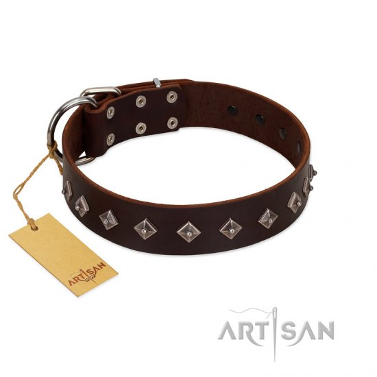 """Boundless Energy"" Premium Quality FDT Artisan Brown Designer Leather English Bulldog Collar with Small Pyramids"