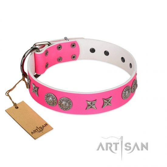"""Striking Fashion"" Handmade FDT Artisan Designer Pink Leather English Bulldog Collar with Shields and Stars"