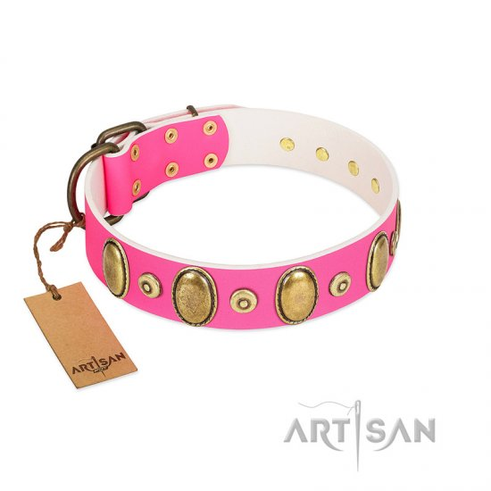 """Drawing Power"" FDT Artisan Pink Leather English Bulldog Collar with Engraved Ovals and Dotted Studs"