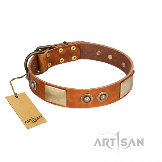 """Perfect Blend"" FDT Artisan Tan Leather English Bulldog Collar 1 1/2 inch (40 mm) wide"
