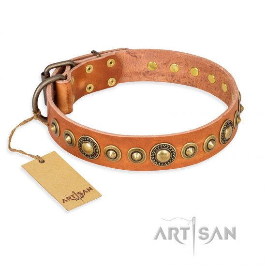 """Feast of Luxury"" FDT Artisan Tan Leather English Bulldog Collar with Old Bronze Look Circles"