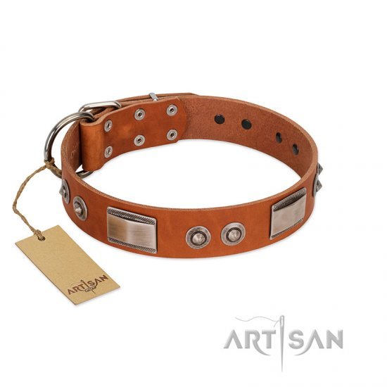 """Pawsy Glossy"" FDT Artisan Exclusive Tan Leather English Bulldog Collar 1 1/2 inch (40 mm) wide"