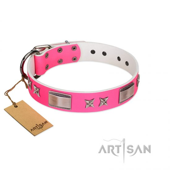 """Pinky Fantasy"" Pink FDT Artisan Leather English Bulldog Collar with Chrome-plated Stars and Large Plates"