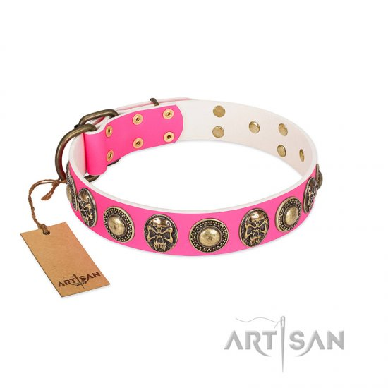 """Two Extremes"" FDT Artisan Pink Leather English Bulldog Collar with Elegant Conchos and Medallions with Skulls"