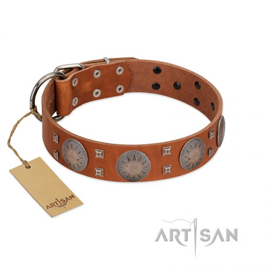 """Sun Rise Noon"" FDT Artisan Tan Leather English Bulldog Collar with Unique Design"